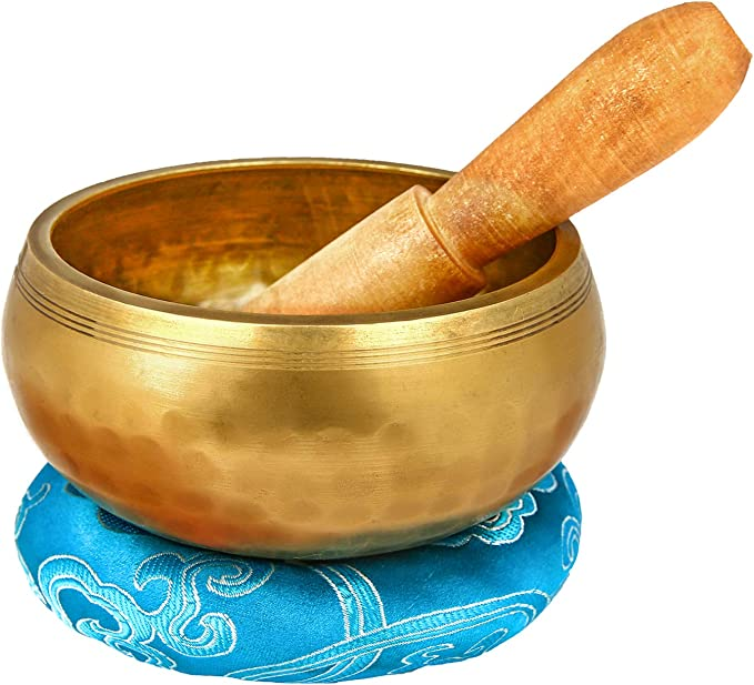 B43 -1 Meditation Tibetan Singing Bowl with Special Etching and ethnic pouch MAND 3 For Mindfulness /& Relaxation -