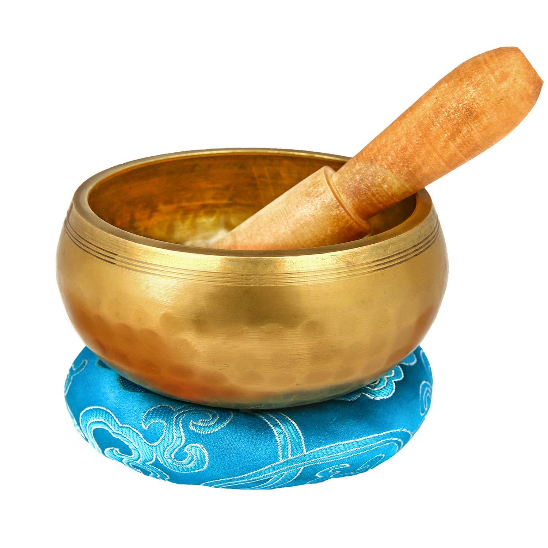 Reehut 4.2'' Tibetan Meditation Yoga Singing Bowl Set, Hand Hammered Singing Bowl With Mallet & Silk Cushion, For Meditation, Chakra Healing, Prayer, Yoga and Mindfulness by REEHUT