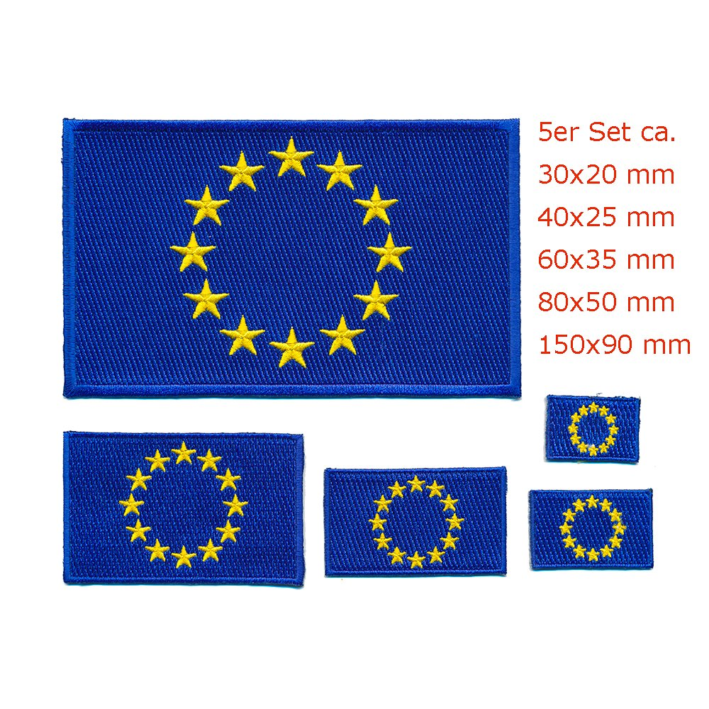 5 Europ/äische Union Flaggen EU Europa Flags Patches Aufn/äher Aufb/ügler Set 1025