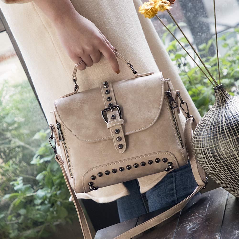 c9b5cf1a24c33 Fishbag Umhängetasche PU Leder Damen Taschen Messenger Tasche Handtaschen  Nieten Vintage Schule Neu Schicke Junge Frauen Herbst Winter (Beige)   Amazon.de  ...