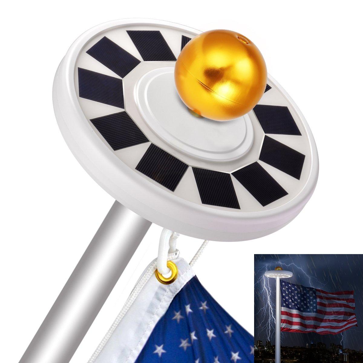 Sunix 30 LED Solar Flag Pole Lights, IP65 Weatherproof Flagpole Downlight with 11 Pcs Big Solar Panel for 15 to 25 Ft, Auto On/Off Night Lighting