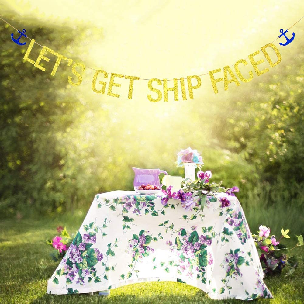Bachelorette Party Lets Get Shipfaced Banner Gold Glitter 6.6 ft Nautical Sailor Theme Birthday Party Decoration Supplies Hen Party Bridal Shower Hanging Paper flag