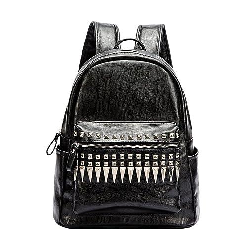 Jitong Hombres Pequeño Remache PU Cuero Mochilas Escolares Mochila Escolar Casual Bolsa Viaje Backpack Camuflaje Bolsa (Negro, 34 * 18 * 40cm): Amazon.es: ...
