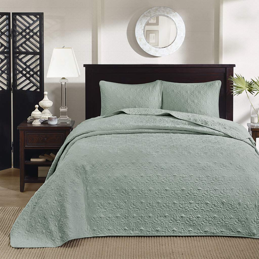 Madison Park Quebec King Size Quilt Bedding Set - Seafoam , Damask – 3 Piece Bedding Quilt Coverlets – Ultra Soft Microfiber Bed Quilts Quilted Coverlet