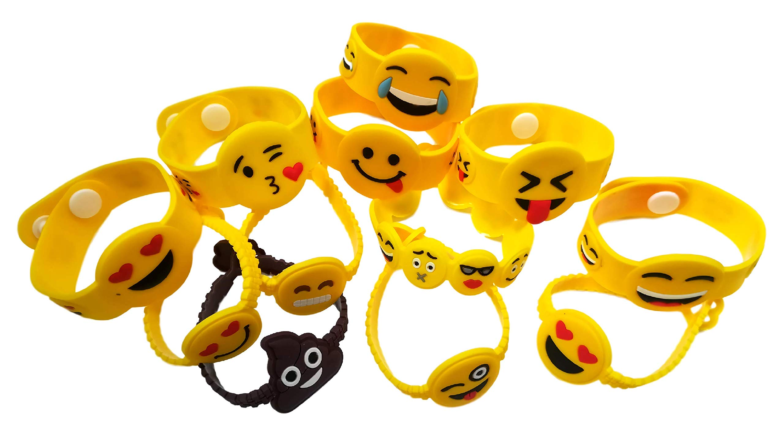 OHill 48 Pack Mixed Emoji Wristband Bracelets for Birthday Party Supplies Favors Prize Rewards