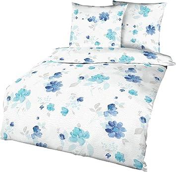 Kaeppel Edel Seersucker Bettwäsche Tender Türkis Blau Weiß Baumwolle