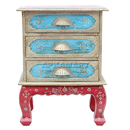APKAMART Handcrafted Wooden Chest of Drawers - 24 Inch - Corner End Table for Home Decor, Room Decor and Gifts