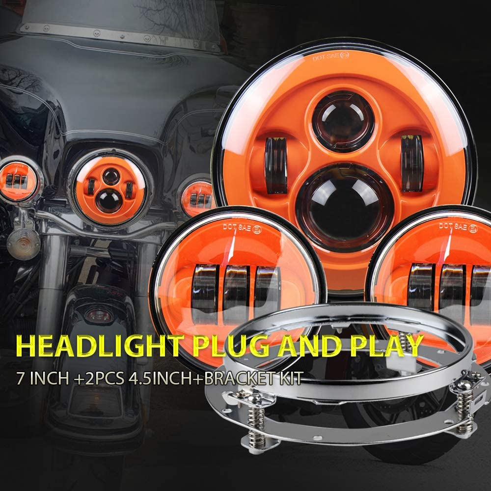 Atubeix 7 Inch Halo LED Motorcycle Headlight+4.5 inch Fog Passing Lights With White DRL Headlamp and bracket Kit fit for Electra Glide Street Glide Road King Heritage Softail Ultra Limited Black
