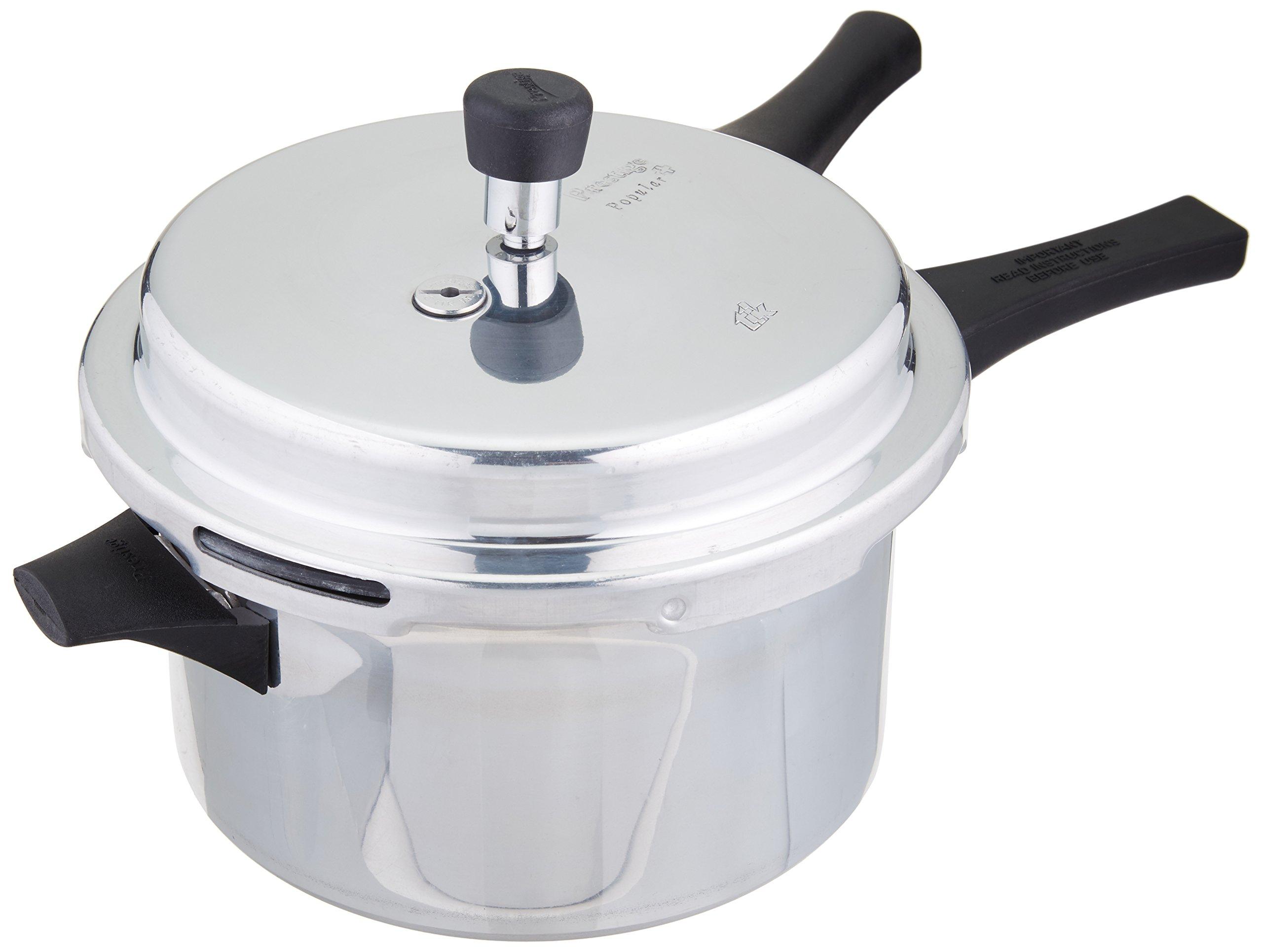 Prestige Popular Plus Induction Base Aluminum Pressure Cooker, 4-Liter