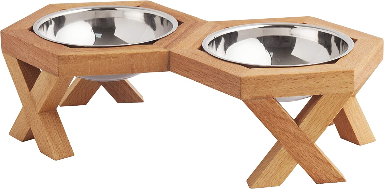 Dog Food Bowls with Stand, Elevated Dog and Cat Stand,Elevated Dog and Cat Handmade Solid Wood Feeder, Raised Food and Water Stand with 2 Stainless Steel (Double Bowl Small for Cats ( 3,8