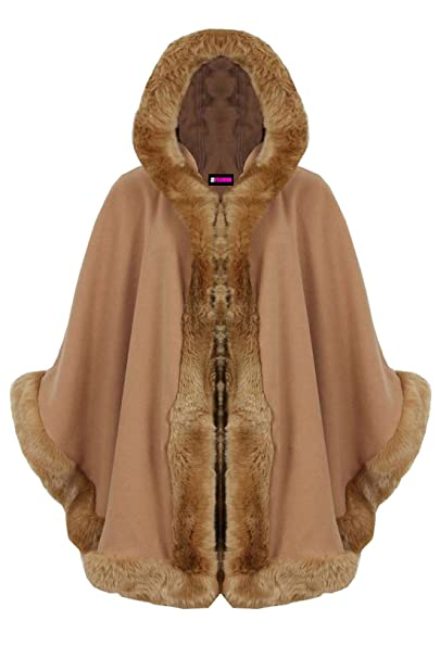 New Womens Ladies Faux Fur Trim Hooded Poncho Wrap Cape Shawl Cardigan Warm Coat