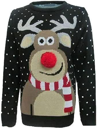 STAR FASHION Suéter de Navidad con diseño de pompón de Copo de Nieve Superior de Reno Rudolph para niños