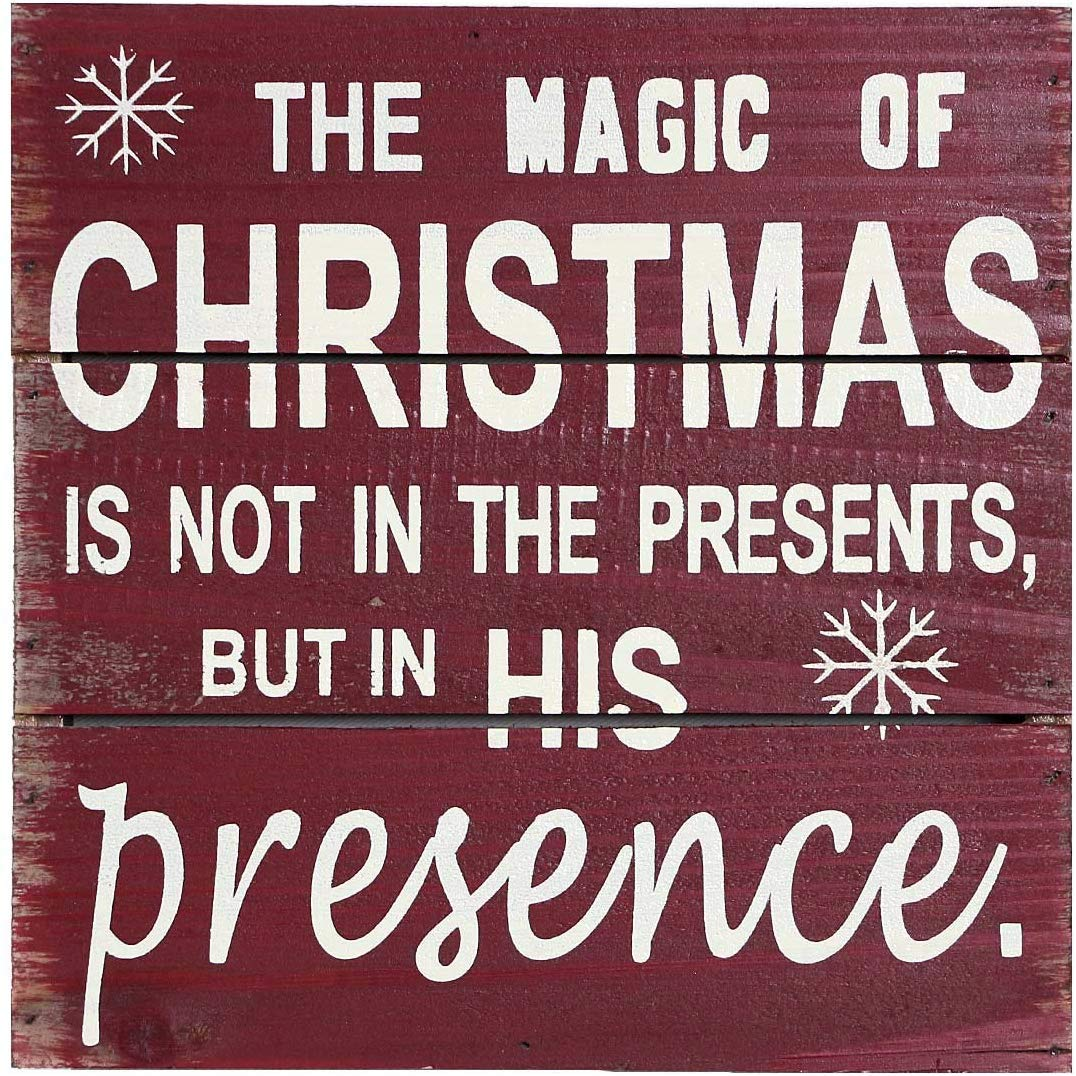 """Vintage Christmas Box Sign Wall Decor Hanging Wood Plaque Tabletop Sign, 8"""" x 8"""" Red Christmas Box Sign With Quotos The Magic of Christmas Wood Wall Decor Wood Sign for Home and Office Decor with Snow"""