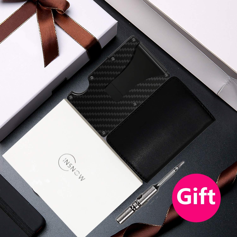 Carbon Fiber Wallet + Business Card Case Gift Set - RFID Blocking Slim Money Clip and Business Card Holder - Minimalist Credit Card Holder Organizer Protector Front Pocket Metal Money Clip for Men