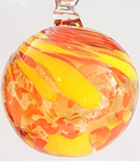 Oberstdorfer Glash/ütte Kugel zum h/ängen Dekokugel Fensterkugel Bunte Glaskugel Ornament violett rot klar Fensterdekoration mundgeblasenes Kristallglas Durchmesser ca 11 cm