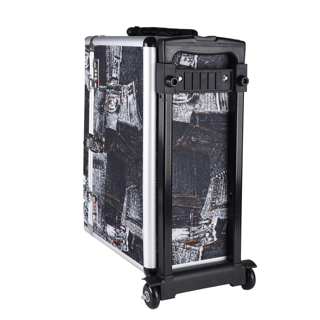 Trolley Pilotkoffer Reisetrolley Handgepäck Geschäftskoffer Mit Jeans-motiv Büro & Schreibwaren