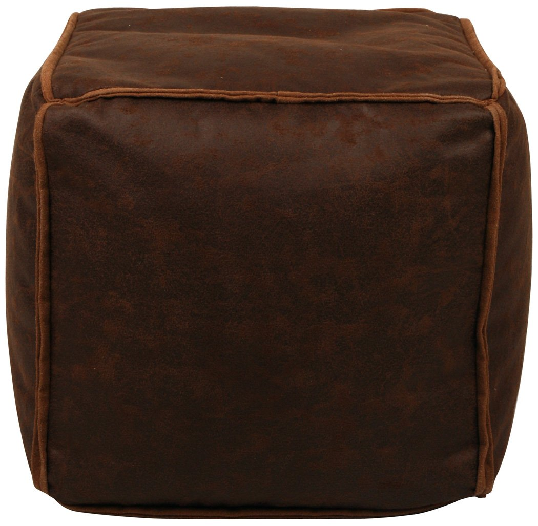 Lux Home Antique Faux Leather Brown Bean Bag Pouf by Lux Home