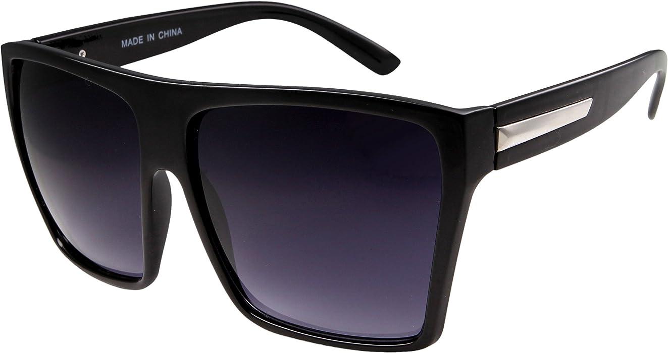 4e22fadc3f Amazon.com  Large Retro Style Square Aviator Flat Top Sunglasses Black   Clothing