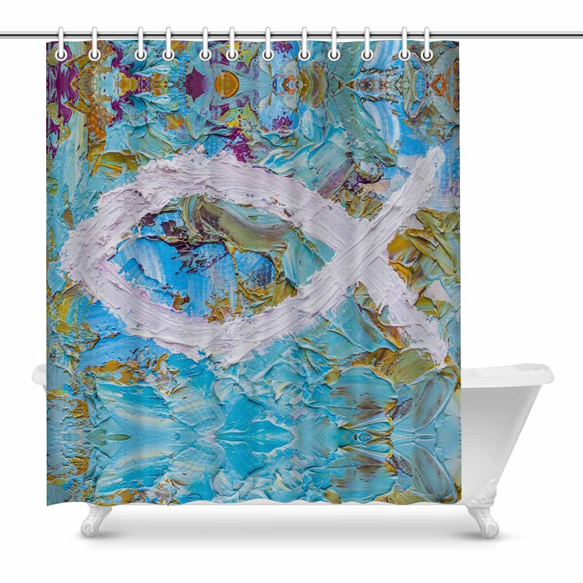 InterestPrint Colorful Christian Fish Christian Symbol Home Decor Waterproof Polyester Bathroom Shower Curtain Bath Decorations with Hooks, 72(Wide) x 84(Height) Inches by InterestPrint