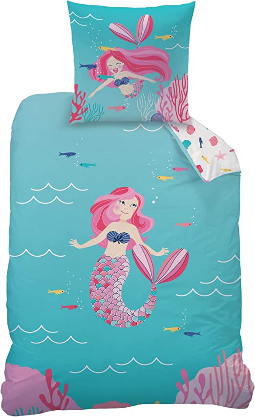 Mermaid monde simple Housse de Couette et Taie d/'Oreiller Réversible Literie