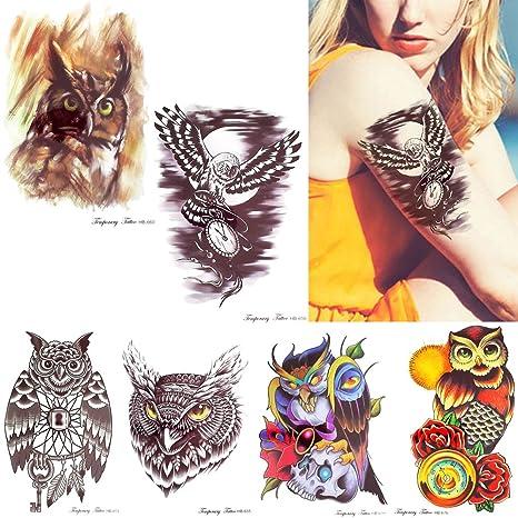 6 Hojas Buhos Decal Set Temporal Tatuaje Pegatina Para Las Mujeres