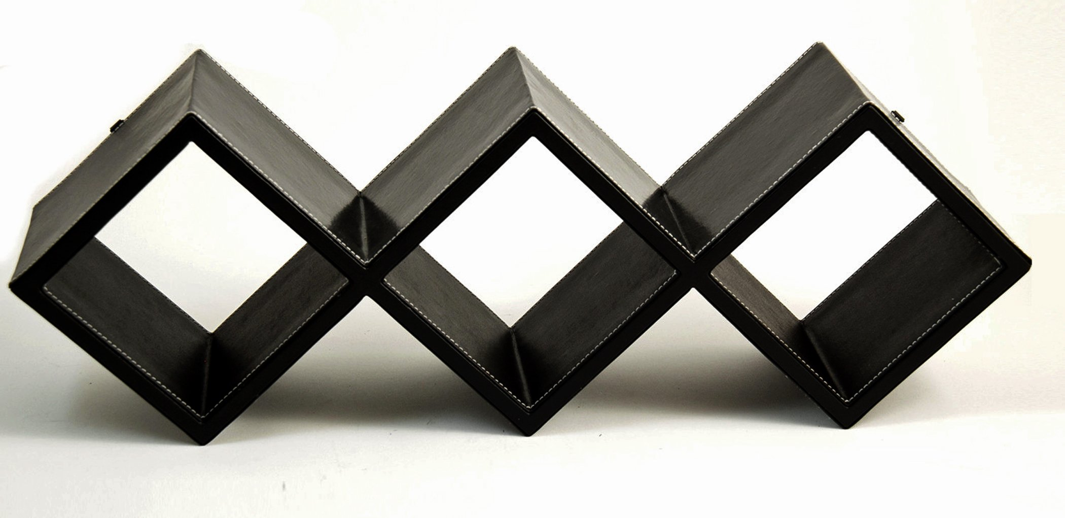 Storage Racks - Black Leather Storage Rack - CD Storage Rack - Wall Mounted or Desktop Storage Rack