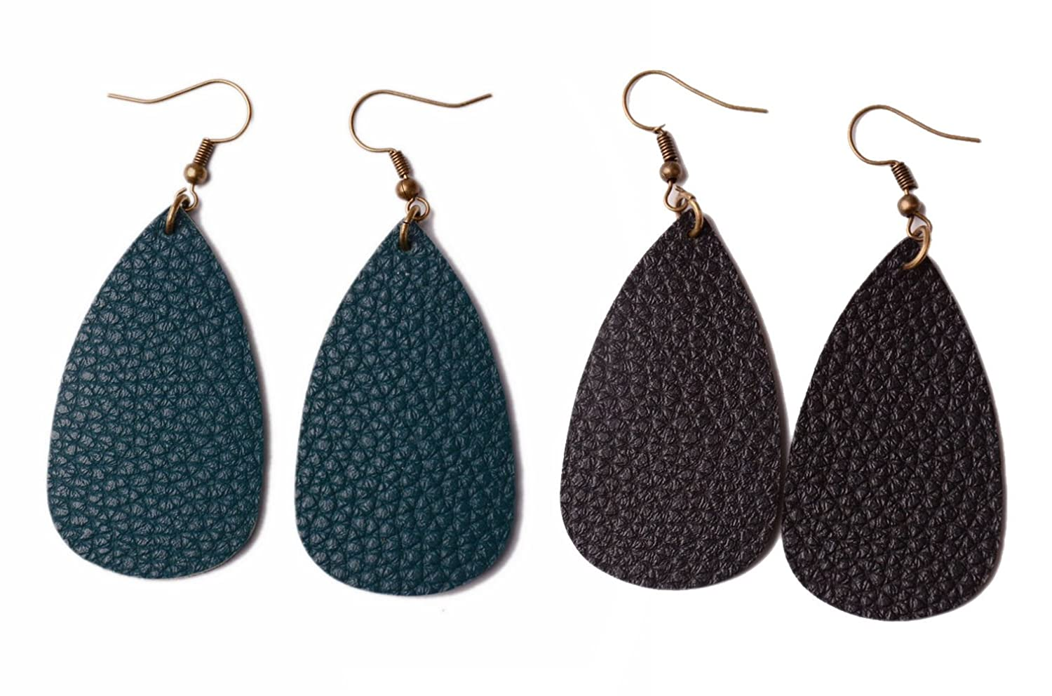 L/&N Rainbery Teardrop Leather Earrings Antique Looking Leather Dangle Earrings 2 Pairs Pack