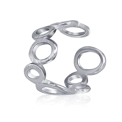 925 Sterling Silber Schlagring Ring Draht Zeichnen Hohl Out Circle ...