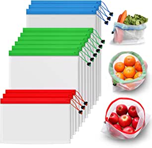 Poipoico Reusable Mesh Produce Bags, Keep Fruits and Vegetables Fresher Longer in These Bags,3 Sizes Lightweight Washable and See-Through Reusable Shopping Bags with Drawstring,12pc Set (3L,6M,3S)