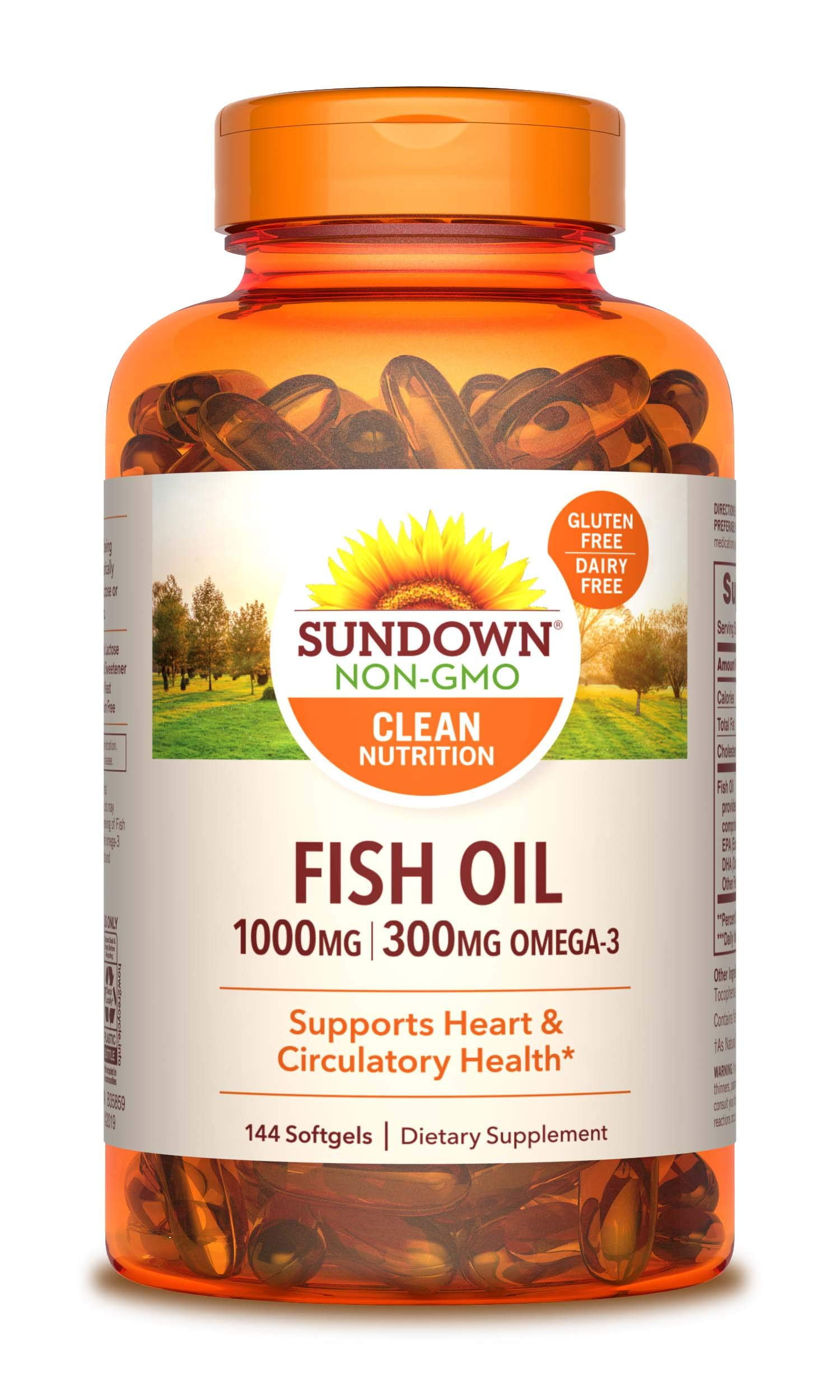 Fish Oil by Sundown, Dietary Supplement, Omega 3, Supports Heart Health, Non-GMO, Free of Gluten, Dairy, Artificial Flavors, 120+24 Bonus Softgels