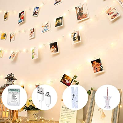 YJFWAL 100 LED Photo Clip String Lights with 50 Clips, Battery/USB Powered 8 Modes 33Ft Fairy String Lights with 20 Nails for Bedroom Wall Decor to Hang Card & Pictures (Warm White) : Garden & Outdoor