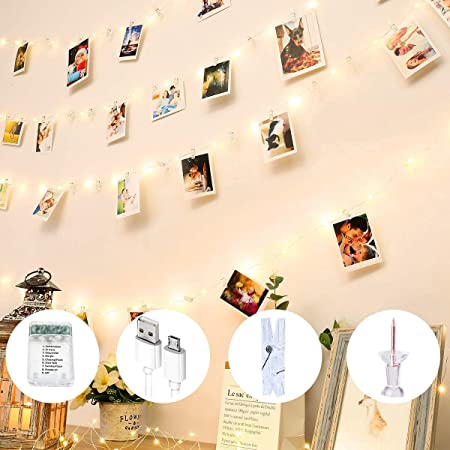 Hanging Pictures Photo LED String Lights Clips Photo 20 50 Bedroom Wall Decor