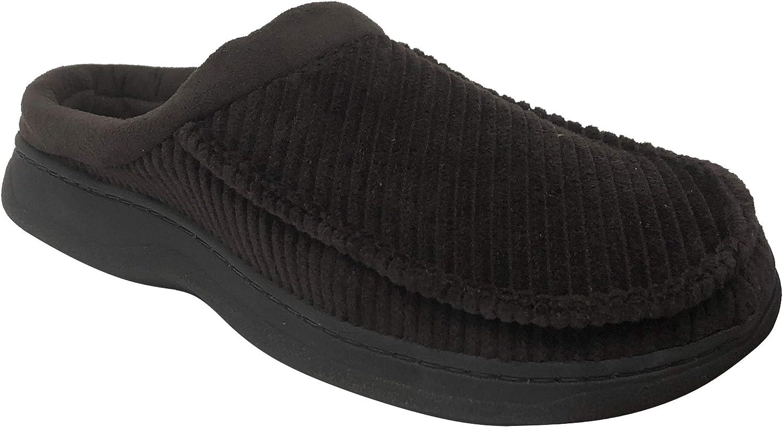Dearfoams Men's Corduroy & Microsuede Clog Memory Foam Slippers