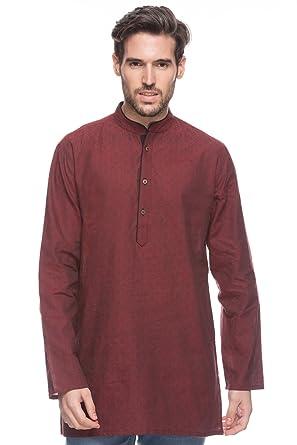 2d4d7e77879 Shatranj Men's Indian Mid-length Kurta Tunic Banded Collar Diamond Design  Shirt; Maroon;