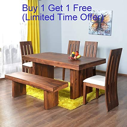 free shipping acb05 42dc3 Nisha Furniture Sheesham Wooden Dining Table Six Seater | Dining Table Set  with 4 Chairs & Bench | Home Dining Room Furniture | Natural Teak Finish