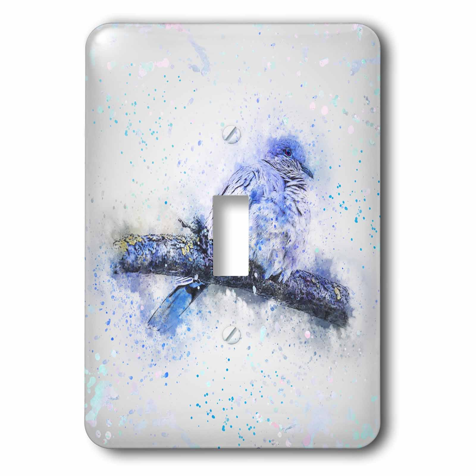 3dRose Andrea Haase Animals Illustration - Blue Watercolor Bird Painting - Light Switch Covers - single toggle switch (lsp_282469_1)