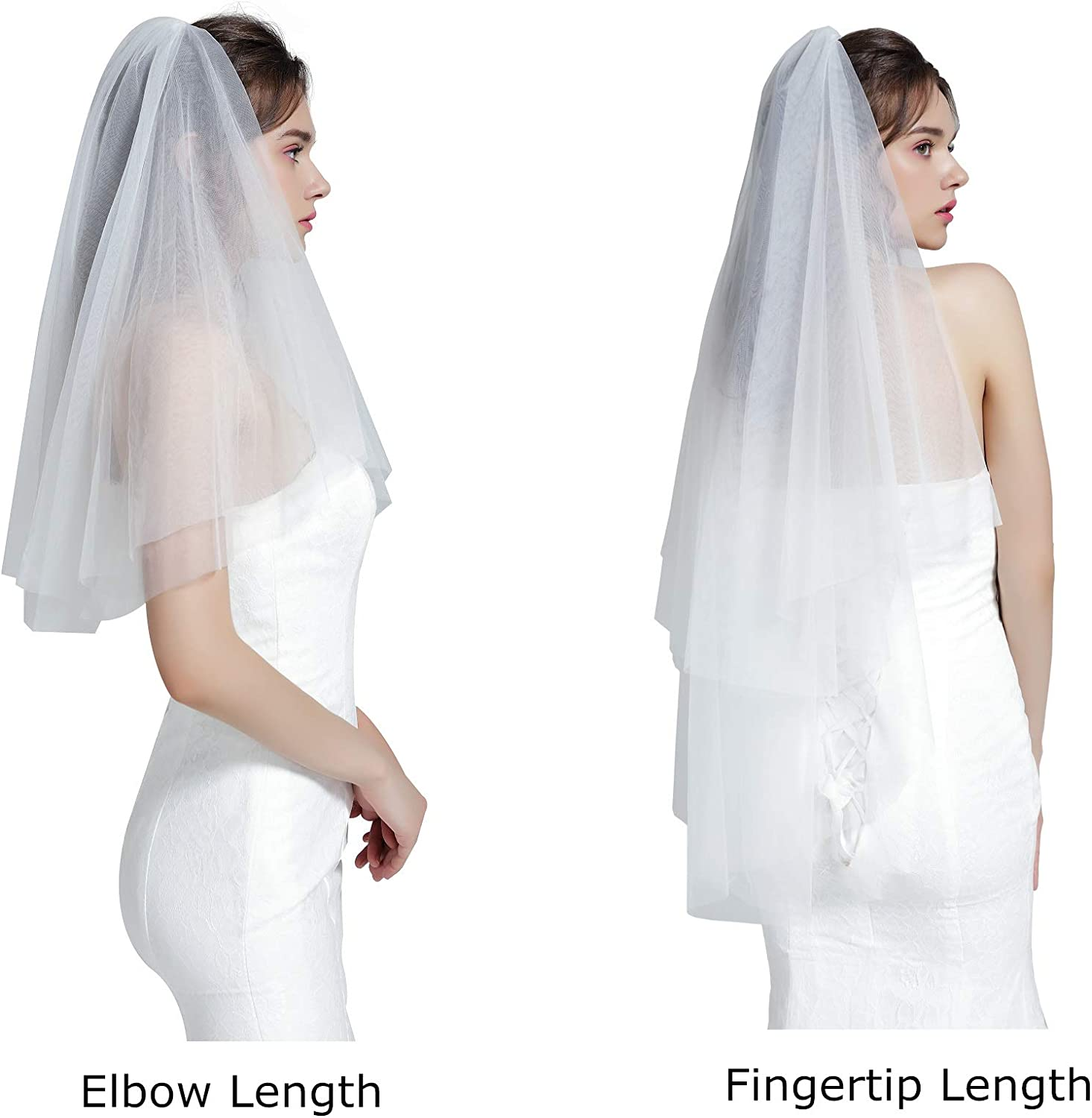 Comb 2T Short White Ivory Pearl Satin Edge Bridal Wedding Elbow Length Veil
