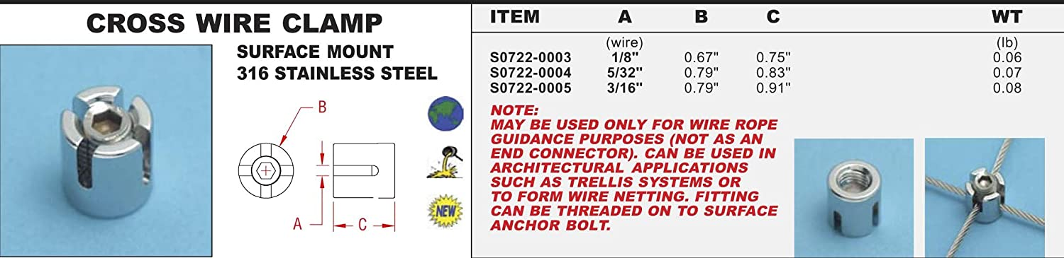 316 Stainless Steel Cross Wire Clamp 5/32\
