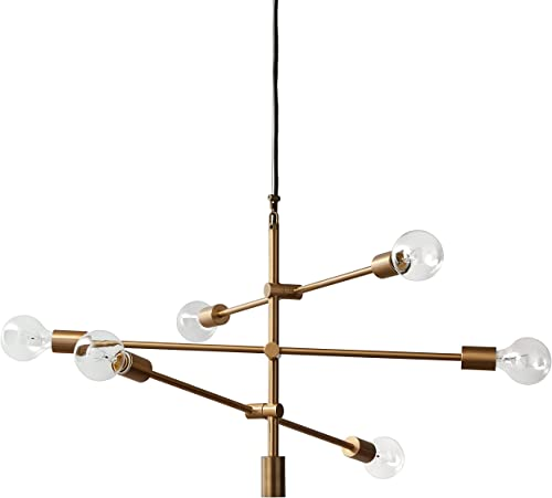 Rivet Mid-Century Modern 6-Light Ceiling Pendant Chandelier Fixture, 29.3 W, Adjustable Hanging Height, Brass