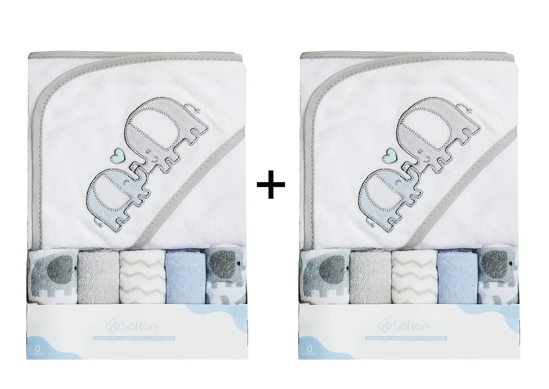 Softan asciugamano con cappuccio per bambini, One Baby asciugamano con cappuccio con cinque Baby Wash Cloths, extra morbido e ultra assorbente, regalo ideale per neonati e bambini Ataya