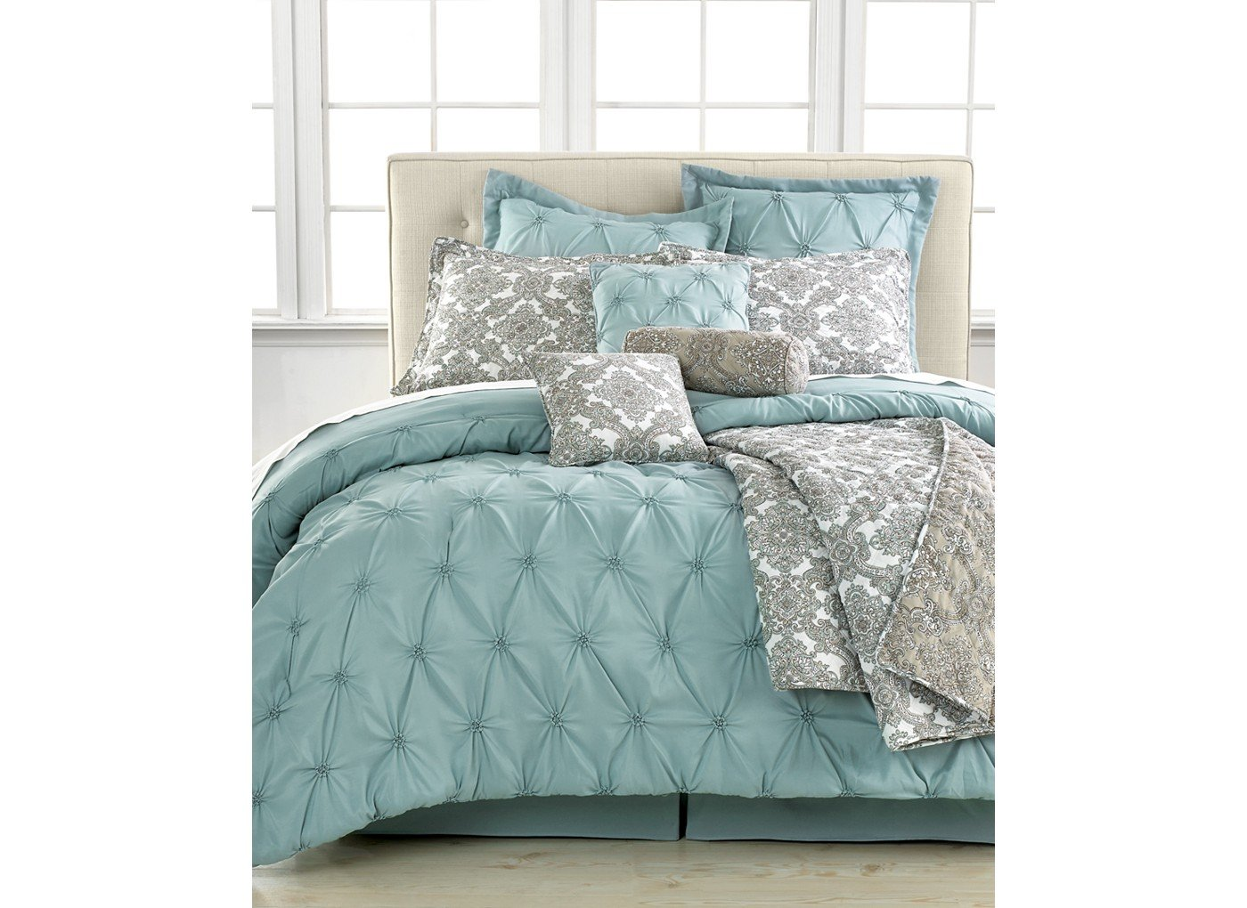 king in blue white decoration park tufted comforter piece gray set silver