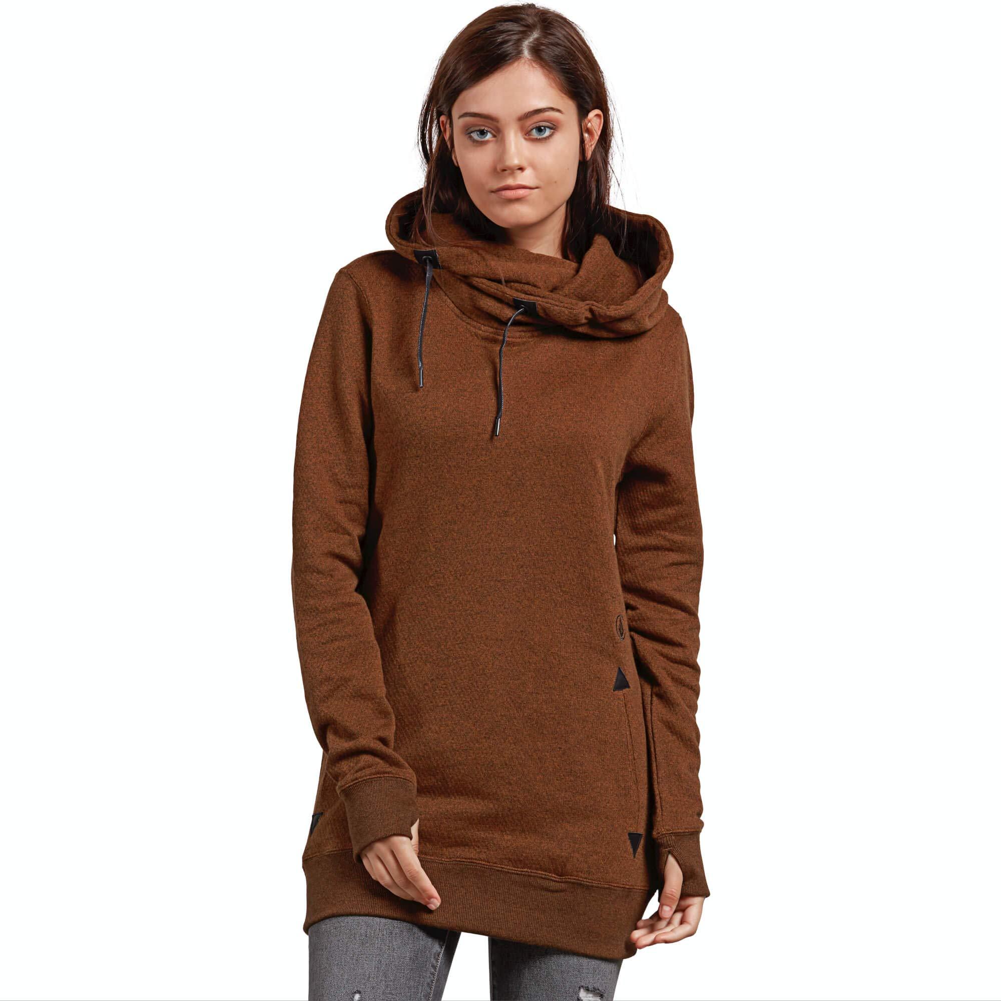 Volcom Women's Tower Pullover Heather Fleece Hooded Baselayer Sweatshirt, Copper, Large