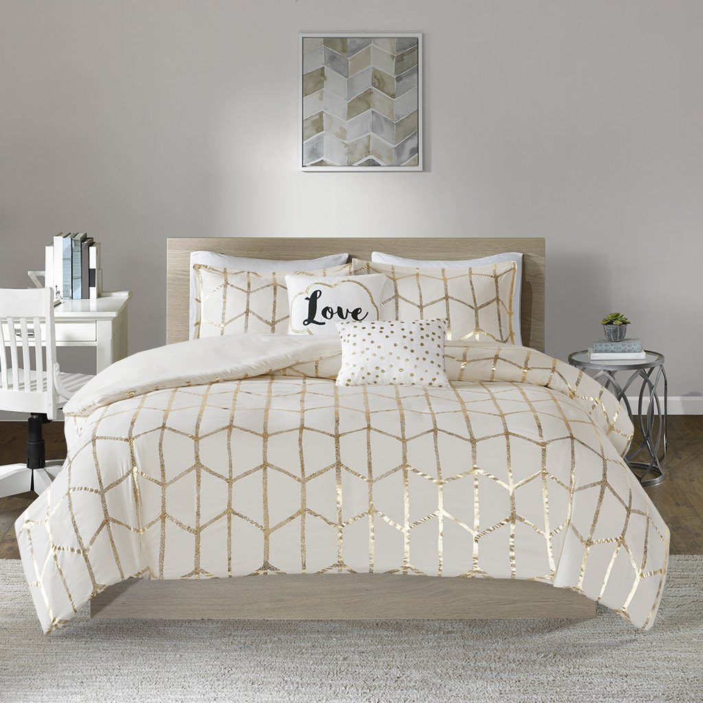 Intelligent Design Raina Duvet Cover Set, Full/Queen, Ivory/Gold