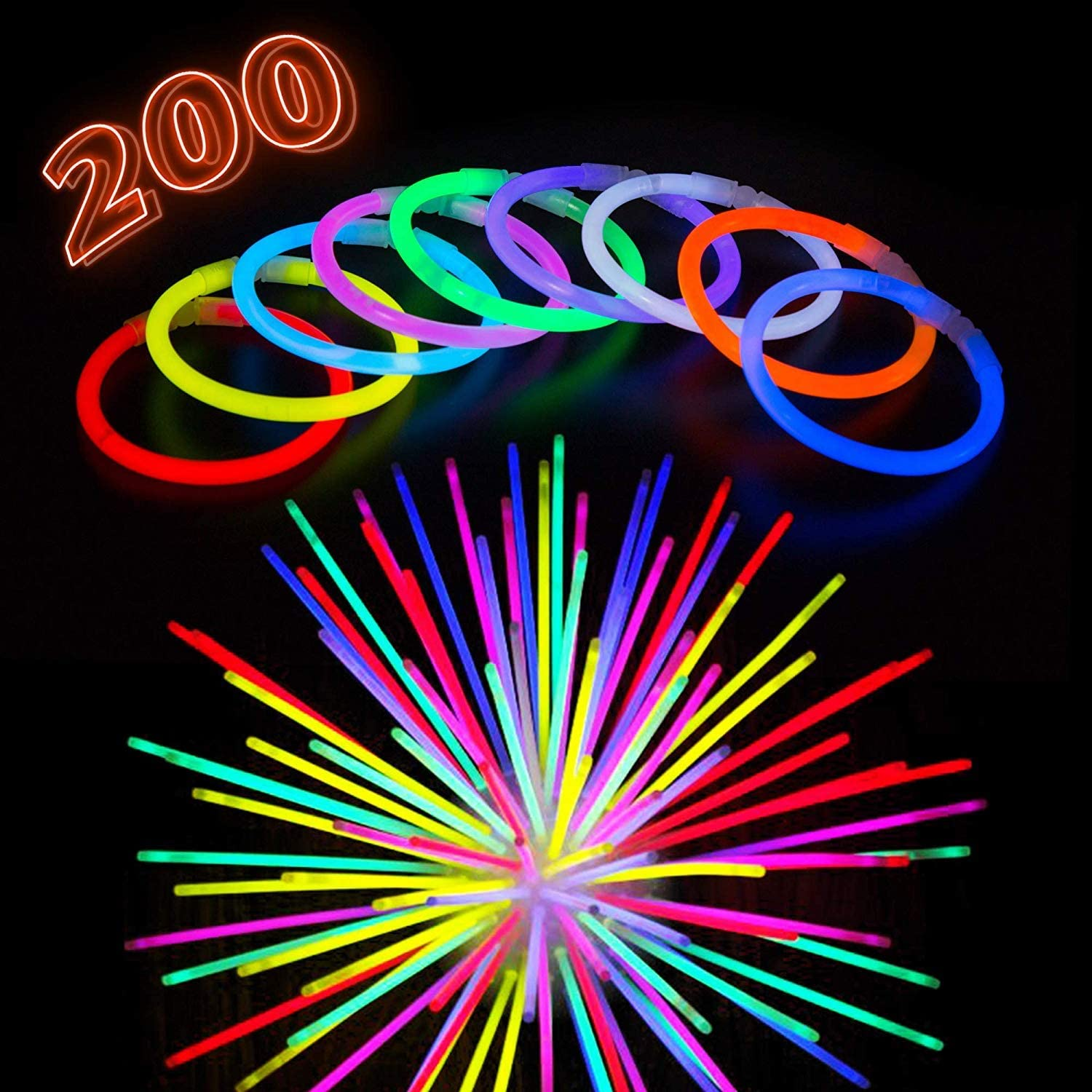 Glowing Goggles Butterfly for Party Supplies-Multi Coloured WedDecor 100 Premium Quality Glow Sticks Party Pack 8 Inch with Connectors to Make Neon Bracelets 224pcs Fluorescent Necklace