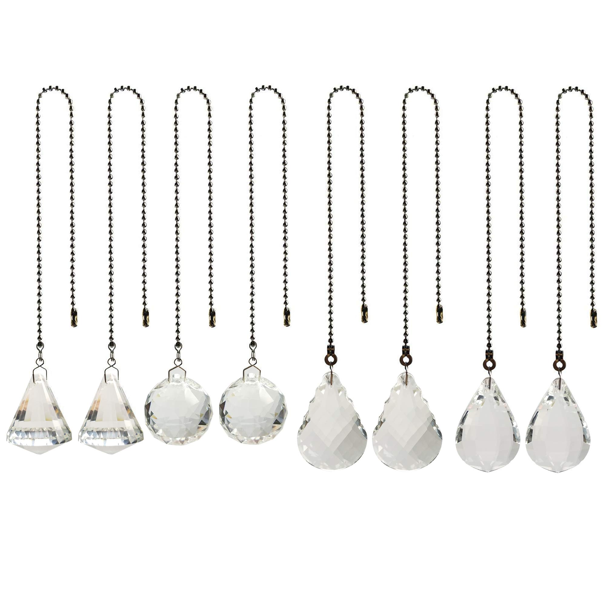 8 Pcs Crystal Prisms Charm Pendant Ceiling Fan Pull Chain Extender with Ball Chain Connector by MOMOONNON