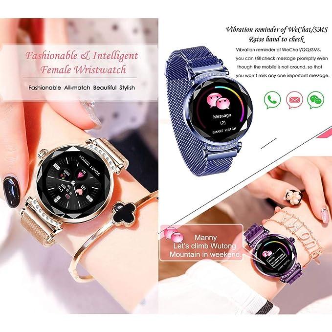 Reloj inteligente Nuevo H2 2019, rastreador de ejercicios, para mujeres Reloj deportivo inteligente con, monitor de presión arterial y oxígeno a ...