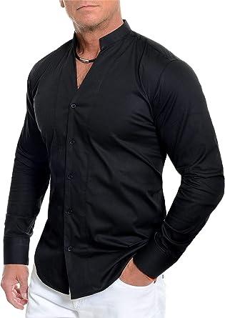 Hombre Camisa Casual con Cuello mandarín en v Manga Larga ...