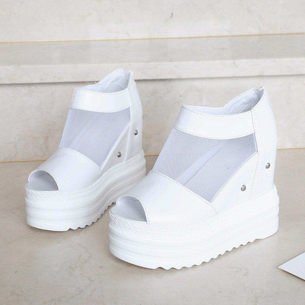 HBDLH Damen Schuhe  Frühjahr Fashion im Frühjahr  und Sommer Fisch Mund Single Schuhe Muffins Dick Tiefste Slope Heels Gaze Damen Schuhe höher Innen Sandalen. 7f9d55