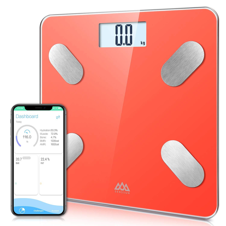 Quarzo rosa Bilancia pesa persona SENSSUN Monitorizza e analizza la composizione corporea-Pesa il grasso corporeo-Bilancia digitale da bagno per misurazione del peso con app per smartphone