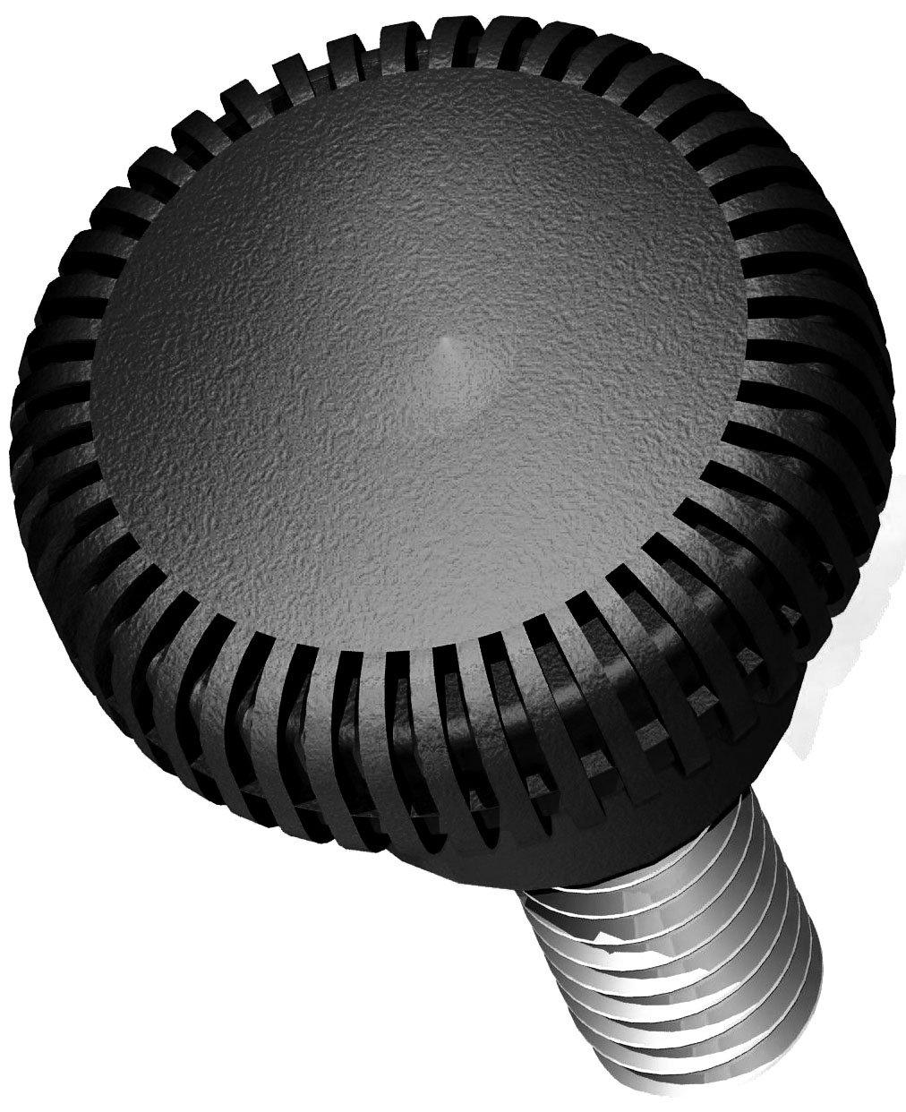 Innovative Components AN820500K3N21 .75'' Knurled knob blind 8-32 X .50'' steel zinc stud black ABS (Pack of 10)